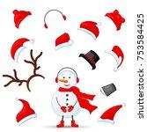 mascot creation kit of snowman... | Shutterstock .eps vector #753584425