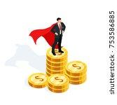 isometric businessman standing... | Shutterstock .eps vector #753586885