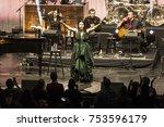 Small photo of New York, NY - November 10, 2017: Evanescence rock band singer Amy Lee curtain call at Kings Theater of Brooklyn