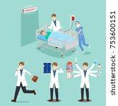 cartoon doctor with patient on... | Shutterstock .eps vector #753600151