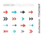 collection of modern arrows... | Shutterstock .eps vector #753605869