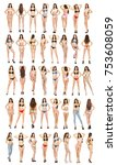 collage  beautiful full body... | Shutterstock . vector #753608059