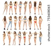 collage models in a variety of... | Shutterstock . vector #753608065