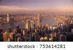 victoria harbor hong kong at... | Shutterstock . vector #753614281