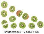 sliced kiwi fruit isolated on... | Shutterstock . vector #753614431