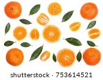 orange or tangerine with mint... | Shutterstock . vector #753614521