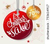 christmas sale design template   Shutterstock .eps vector #753614917