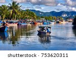 a local fisherman goes out on a ... | Shutterstock . vector #753620311