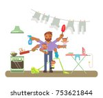 father in funny cartoon style... | Shutterstock .eps vector #753621844