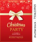 merry christmas party and gold... | Shutterstock .eps vector #753623905