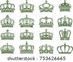 huge collection of vector crown ... | Shutterstock .eps vector #753626665