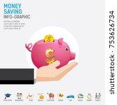 money saving planning info... | Shutterstock .eps vector #753626734