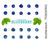 vector set of a fresh blueberry.... | Shutterstock .eps vector #753634501