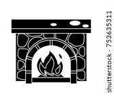 fireplace isolated vector icon   Shutterstock .eps vector #753635311