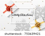 christmas background with gifts ... | Shutterstock .eps vector #753639421