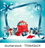 christmas background with a red ... | Shutterstock .eps vector #753643624