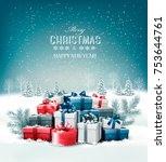merry christmas background with ... | Shutterstock .eps vector #753644761