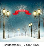 christmas evening winter... | Shutterstock .eps vector #753644821