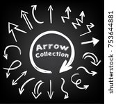 collection of arrows drawn with ... | Shutterstock .eps vector #753644881