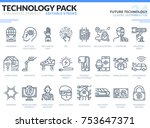 future technology icons set.... | Shutterstock .eps vector #753647371