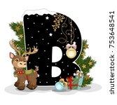 festive alphabet christmas...   Shutterstock .eps vector #753648541