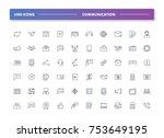 11. set of 60 line icons.... | Shutterstock .eps vector #753649195