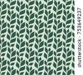 pattern with green leaves.... | Shutterstock .eps vector #753649237