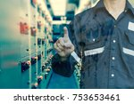 double exposure of  engineer or ... | Shutterstock . vector #753653461