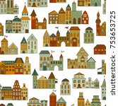 seamless hand drawn pattern... | Shutterstock .eps vector #753653725