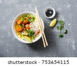 vegan khao soi soup on a grey... | Shutterstock . vector #753654115