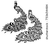 illustration of the peacock   ...   Shutterstock .eps vector #753654484