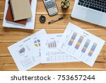 office desk table with laptop ... | Shutterstock . vector #753657244