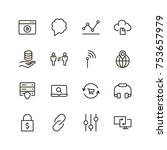 seo icon set. collection of... | Shutterstock .eps vector #753657979