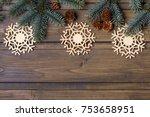 christmas background with fir... | Shutterstock . vector #753658951