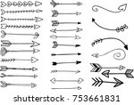 hand drawn arrow set to show... | Shutterstock .eps vector #753661831