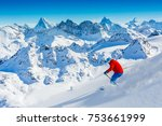 skiing with amazing view of...   Shutterstock . vector #753661999