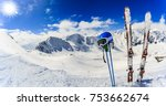ski in winter season  mountains ... | Shutterstock . vector #753662674