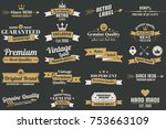 vintage retro vector logo for... | Shutterstock .eps vector #753663109
