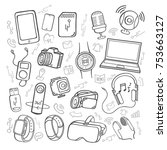 doodle hand drawing set of... | Shutterstock .eps vector #753663127