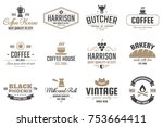 restaurant retro vector logo... | Shutterstock .eps vector #753664411