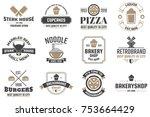 restaurant retro vector logo... | Shutterstock .eps vector #753664429