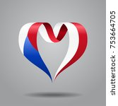 czech flag heart shaped wavy... | Shutterstock .eps vector #753664705