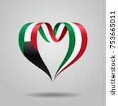 kuwaiti flag heart shaped wavy... | Shutterstock .eps vector #753665011