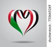 sudanese flag heart shaped wavy ... | Shutterstock .eps vector #753665269