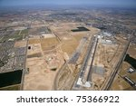 High level aerial view of the Goodyear airport and surrounding area - stock photo