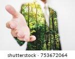 double exposure  businessman... | Shutterstock . vector #753672064