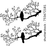silhouette of a cat and owl on... | Shutterstock .eps vector #753672181