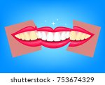 whitening teeth  before and... | Shutterstock .eps vector #753674329