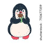 winter illustration. funny... | Shutterstock .eps vector #753677359