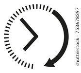 clock icon. black and white... | Shutterstock .eps vector #753678397